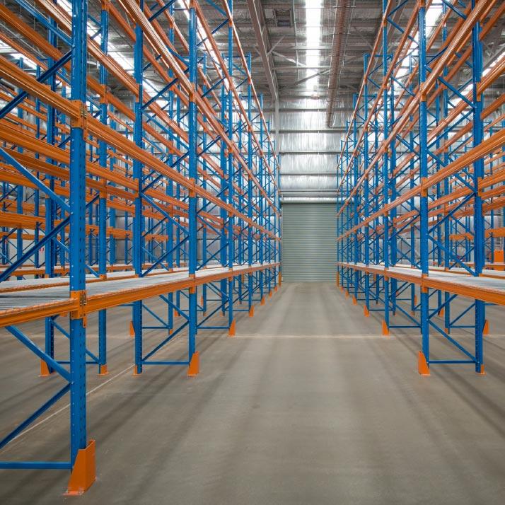 Warehouse metal shelving
