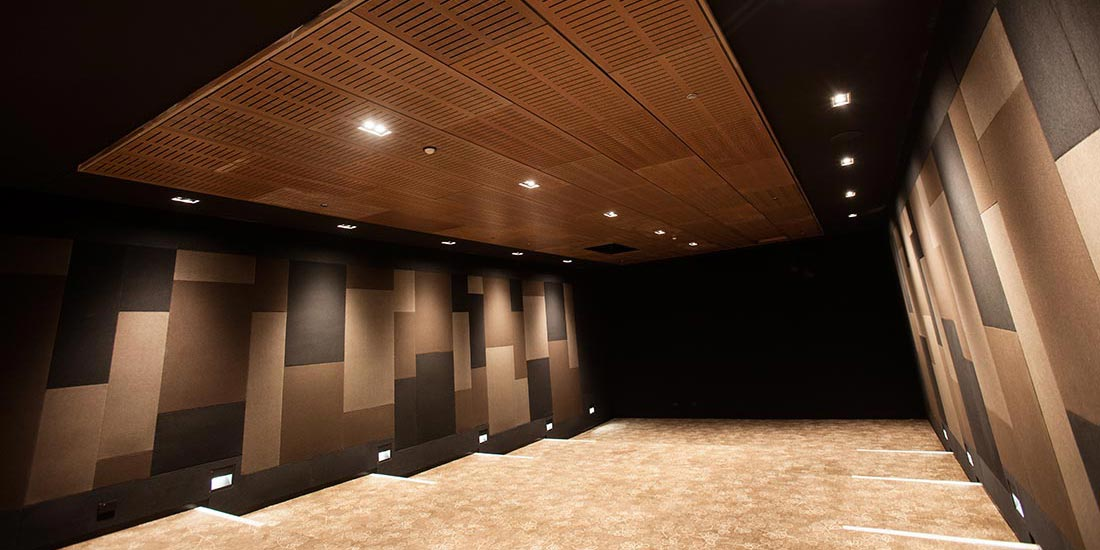 Interior featuring coloured wall panels