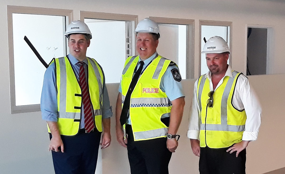 Police Minister Mark Ryan looking inside the Caboolture Police Station construction site